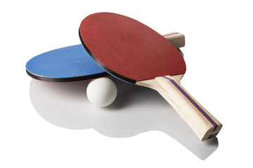 Red and Blue Ping Pong Paddles - Crossed, Handles Facing Right