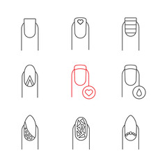 Manicure linear icons set
