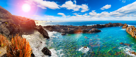 Tenerife island scenery. Nature scenic seascape in Canary Island.Travel adventures landscape