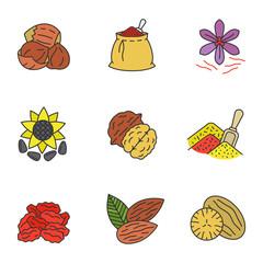 Spices color icons set