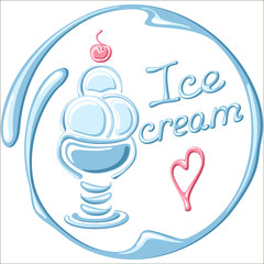 Vector illustration of ice cream on a white background. Suitable for flyer and card