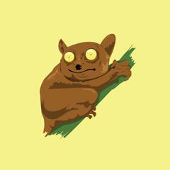 Tarsier Animal Mascot Cartoon Vector
