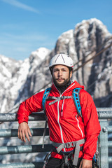 portrait of a mountain climber fully equiped
