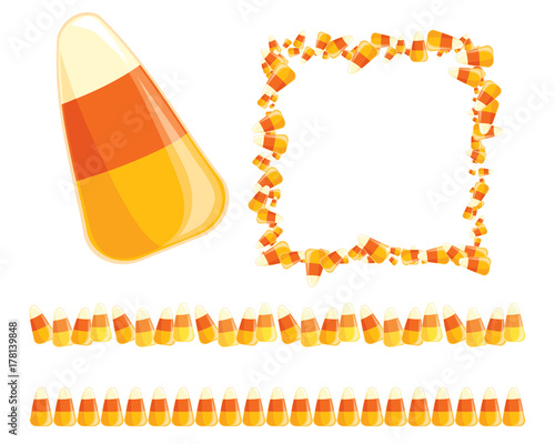 Festive vector candy corn borders and frames for Halloween designs ...