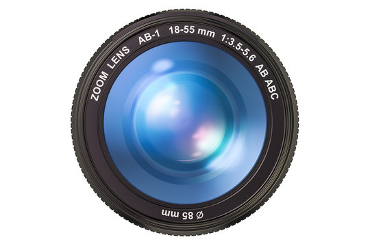 Photography camera lens, 3D rendering