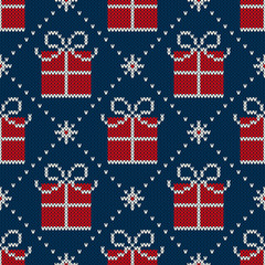Winter Holiday Seamless Knitted Pattern with a Christmas Present Box. Knitting Wool Sweater Design