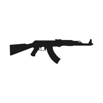 Assault rifle icon isolated on white.. Kalashnikov assault rifle AK-47. Vector Illustration EPS