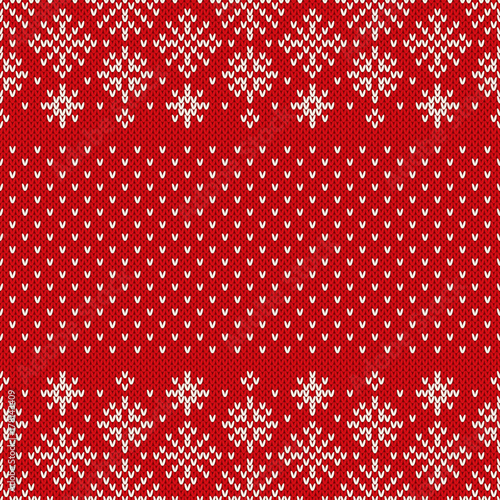 Christmas Seamless Knitted Pattern With Snowflakes Christmas And