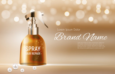 Design Hair Repair Spray Cosmetics Product  Template for Ads or Magazine Background. 3D Realistic Vector Iillustration