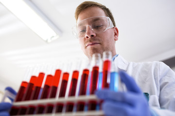Young chemist in the laboratory holding tubes