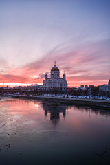 Cathedral of Christ the Saviour view at winter sunset in Moscow, Russia