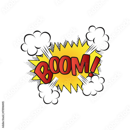 Lettering Boom, bomb  Comic text sound effects  Vector