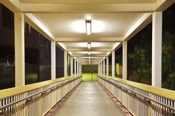 Pedestrian bridge perspective  long corridor of night