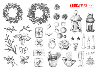 Christmas hand drawn elements for xmas design. Collection with toys, candy cane, candles, mistletoe, holly berries, wreath, balls. Vintage Xmas design set. Linear graphic. New year vector illustration