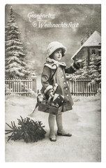 Little girl christmas tree gifts vintage toys