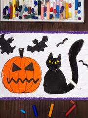 Halloween drawing: Black cat, bad pumpkin and flying bats