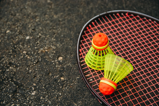 Badminton Racket and Two Birdies on Ground