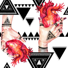 Watercolor seamless pattern, girls hands with mehendi holding anatomic hearts on geometric background. Human, body parts. Art symbol of love. Esoteric, spiritual illustration. Witches rituals.