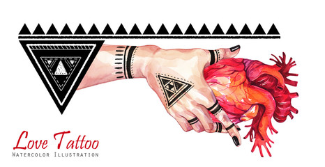 Watercolor banner woman hand with mehendi tattoo holding anatomic heart. Geometric decor, triangles. Human, body parts. Tattoo art symbol of love. Esoteric, spiritual illustration. Witches ritual.