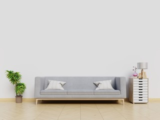 Modern living room with sofa white wall background. 3D rendering.
