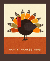 Happy Thanksgiving flat minimalist design. Colorful turkey. For greeting cards, banners, flyers, print.