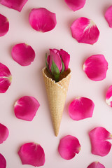 Ice cream cone with rose and petals