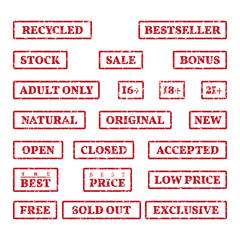 A set of rubber stamps on a themes: sale, price, bonus, open, closed, new, etc.
