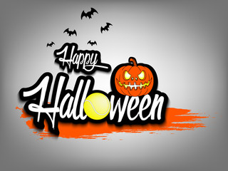 Banner happy halloween and tennis ball