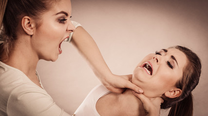 Two agressive women having argue fight