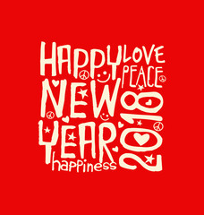 Happy New Year 2018 retro design with inspiring handwritten typography on red background.
