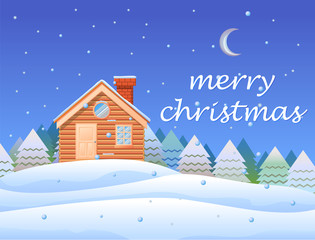 Merry Christmas with cottage and snow background vector