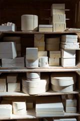 Potttery equipments kept in a shelf