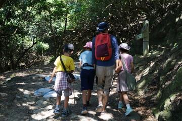 木漏れ日 ハイキング ピクニック レジャー 親子 家族 父子 夏休み 遠足 後ろ姿