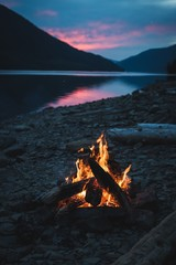 Campfire near lakeside