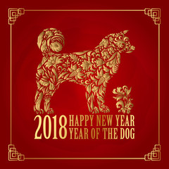 2018 Chinese New Year. Year of the dog. Vector illustration. New Year. Gold on red.