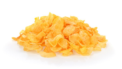 Corn flakes breakfast cereal, isolated on a white background