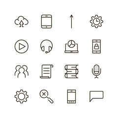 Mobile app icon set. Collection of high quality outline application pictograms in modern flat style. Black internet symbol for web design and mobile app on white background. Programm line logo.