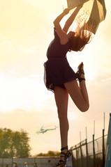 Outdoor portrait of happy hippie girl.