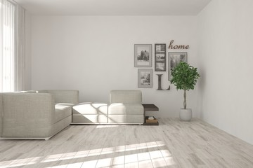 Idea of white minimalist room with sofa and pictures on a wall. Scandinavian interior design. 3D illustration