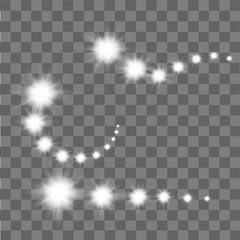 White glowing stars, lights and sparkles on transparent background. Vector