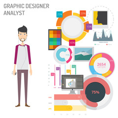 Graphic Designer Analyst with Diagram