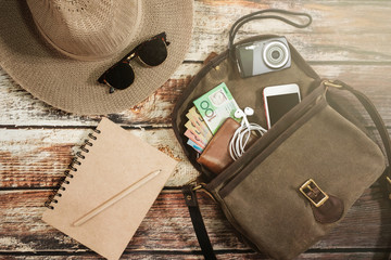 Traveler items vacation travel accessories holiday long weekend day off travelling stuff equipment background view concept