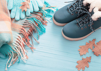 blue winter shoes and gloves on blue wooden background