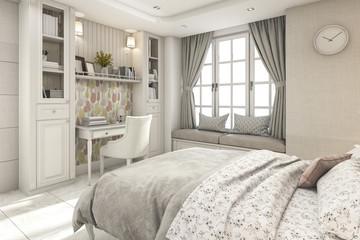 3d rendering scandinavian classic children white bedroom