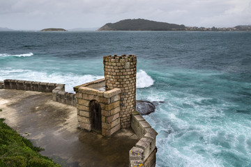 Defensive tower of the Monterreal Fortress, in Baiona, Galicia, Spain. The walled precinted was built between the 11 th and 17 th century.