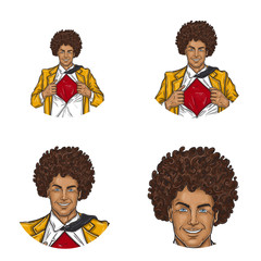 Set of vector pop art round avatar icons for users of social networking, blogs, profile icons. Black man with an Afro haircut, in a yellow retro suit and a shirt open on his chest