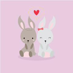 cute rabbit in love