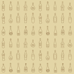 Seamless texture with a set of decorative bottles