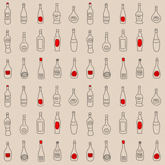Seamless texture with a set of stylized bottles