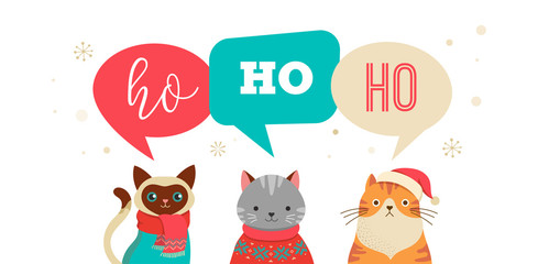1752715 Merry Christmas greeting, banner with cute cats characters, vector collection.